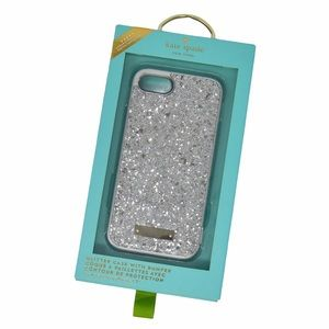 NWOT Kate Spade Silver Glitter Case with Bumper